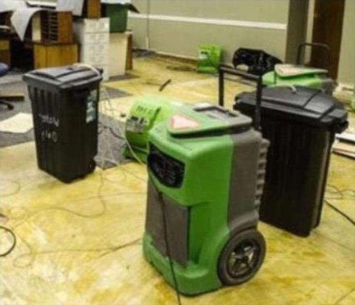 Our drying equipment working to restore the floors in this business